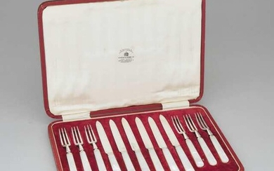 Set of Six English Silver Fruit Knives and Six Forks