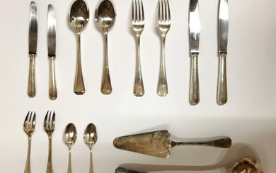 Silver plated metal cutlery set composed of 62...