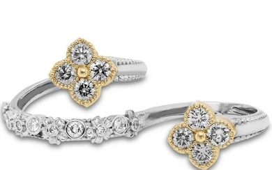 Stambolian Fancy Color Diamond Two Finger Floral Ring