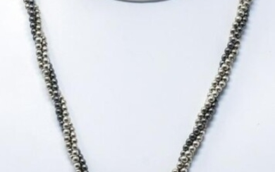 Sterling Silver & Onyx Triple Strand Necklace