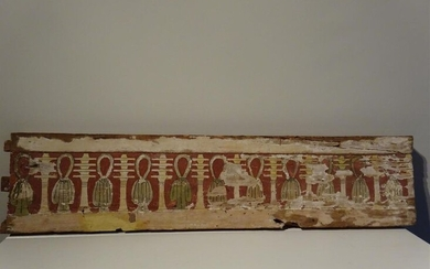 Stuccoed and painted wooden sarcophagus panel, Egypt, Late...