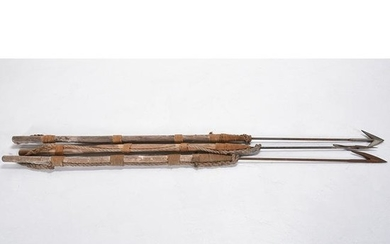 Three Antique Wood and Iron Whaling Harpoons.
