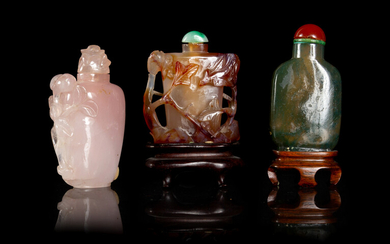Three Chinese Hardstone Snuff Bottles