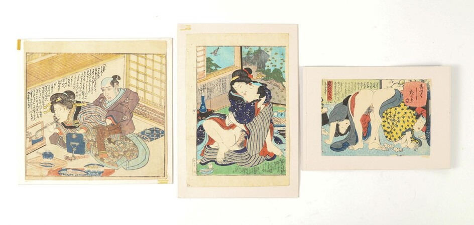 Three Japanese Shunga Woodblock Prints, Meiji Period FR3SHLM