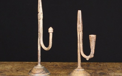 Two Similar Late 18th/Early 19th Century Style Wrought Iron Rushnips with turned treen bases. One wi