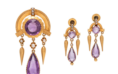 VICTORIAN, YELLOW GOLD AND AMETHYST SET