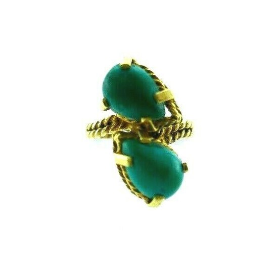 VINTAGE 14k Yellow Gold & Turquoise Bypass Ring