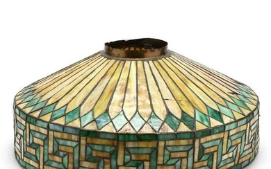 Vintage Greek Key Patterned Stained Glass Shade