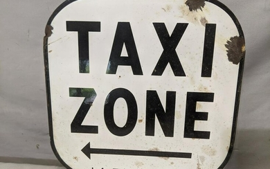 Vintage Porcelain Taxi Zone Stand Sign