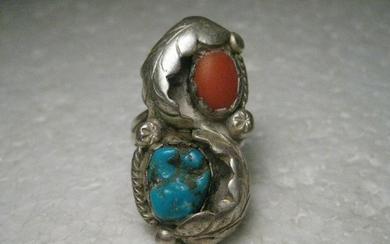 Vintage Sterling Silver Southwestern Turquoise & Coral