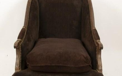 Walnut & Upholstered Slipper Chair