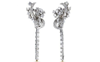 White gold and platinum earrings, pearls and diamo