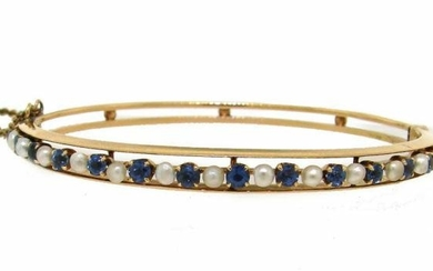 YELLOW GOLD SAPPHIRES AND PEARLS VICTORIAN BANGLE