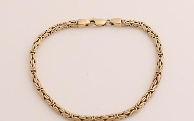 Yellow gold bracelet, 585/000, with king link with