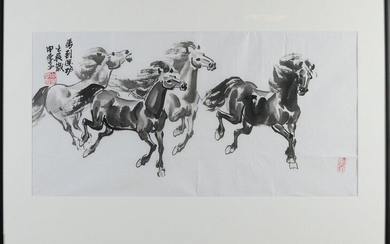 Zhan Zu Sjen. Chinese School. 21st century. Galloping horses. Indian ink on paper. Dimensions: H 48 x W 68 cm. In good condition.
