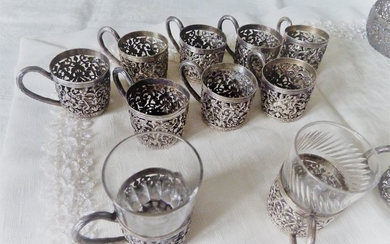 series of 12 doors vodka glasses, old Russian origin (18) - silver plated