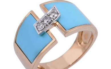 0.15 Ct. HI/SI Diamond Turquoise Enamel Ring 18k Gold