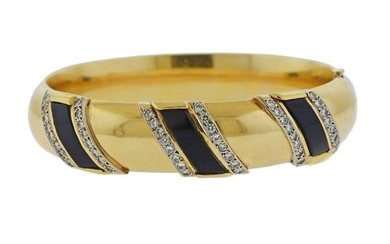 14K Gold Diamond Onyx Bangle Bracelet