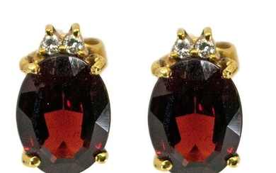 18 kt. Gold - Earrings - 3.00 ct Garnet - Diamonds