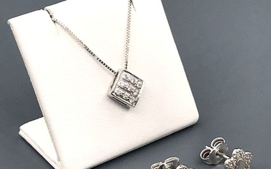 18 kt. White gold - Earrings, Necklace with pendant - 0.21 ct Diamond
