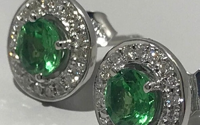 18 kt. White gold - Earrings tsavorite - Diamonds