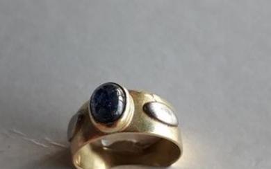 18 kt. White gold, Yellow gold - Ring Sapphire - Sapphire