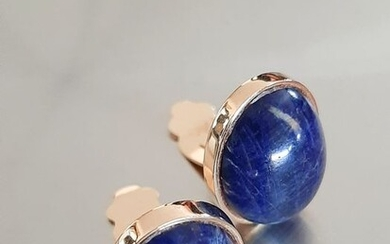 18 kt. Yellow gold, Lapis Lazuli - Earclips 10.0gr