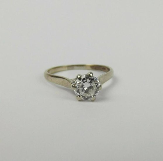 18ct Yellow Gold Diamond Solitaire Ring UK Size M US 6