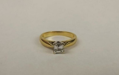 18ct Yellow Gold Princess Cut Diamond Solitaire Ring UK