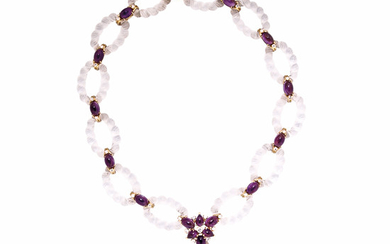 18kt Gold, Rock Crystal, Amethyst, and Diamond Necklace, Fred