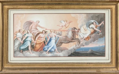 18th century ITALIAN school, after Guido RENI; Late 18th century ITALIAN school. The chariot of the sun. The vestals preparing the sacred fire. Pair of gouaches. 23,5 x 47 cm. RM