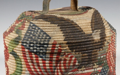 19TH C. NATIVE AMERICAN COVERED BASKET WITH PATRIOTIC FOLK ART PAINTING