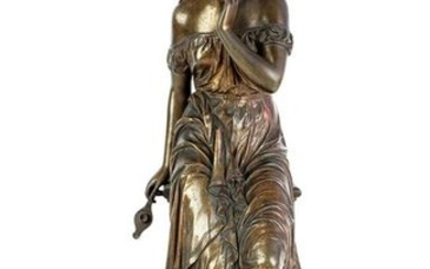 19th C. Bronze Figure of Psyche on Marble Base Signed