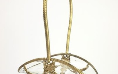 19th C. French Gilt Bronze & Crystal Basket with