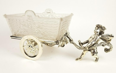 19th C. French Silverplated Large Figural Carriage w/