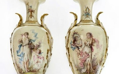 19th C. Pair of French Sevres Vases