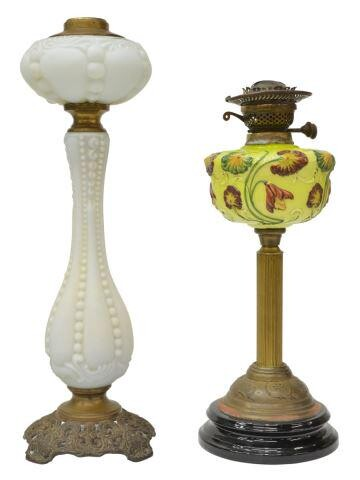 (2) VICTORIAN SATIN GLASS OIL LAMPS