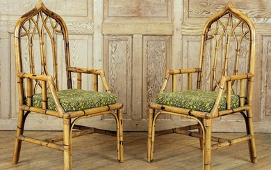 UNUSUAL PAIR GOTHIC STYLE RATTAN CHAIRS C.1950