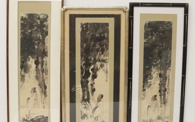 (3) CHINESE WATERCOLORS