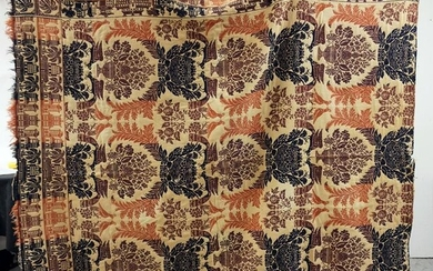3 COLOR ANTIQUE COVERLET WITH BUILDINGS AND PALM TREES