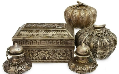 (5) CHINESE SILVER COVERED BOXES, SHAKERS