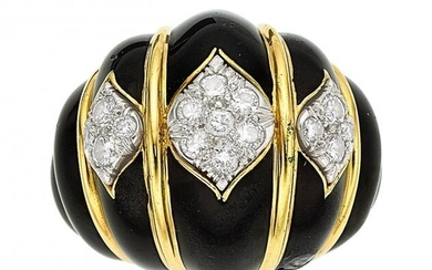 55100: Diamond, Enamel, Gold Ring, David Webb The ring