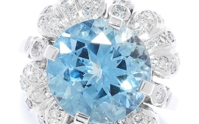 AQUAMARINE AND DIAMOND CLUSTER RING in white gold or