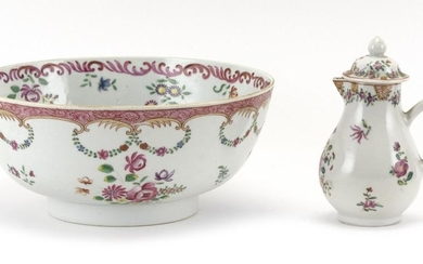 """CHINESE EXPORT FAMILLE ROSE PORCELAIN BOWL Together with a covered cream pitcher with similar decoration. Height 5.5"""". Bowl with ros..."""
