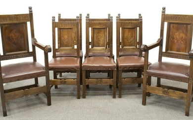 (8) ITALIAN RENAISSANCE REVIVAL WALNUT CHAIRS