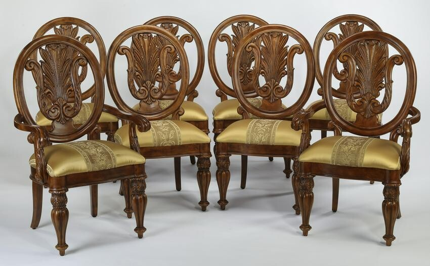 (8) Louis XV style carved chairs w/ silk upholstery
