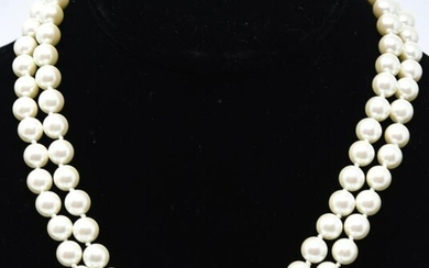 8mm Hand Knotted Double Strand Faux Pearl Necklace