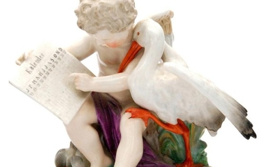 A 19th Century Sitzendorf figural group of Cupid resting on ...