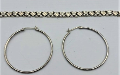 .925 Sterling Silver Bracelet and Hoop Earrings