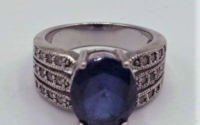 .925 Sterling with CZ Blue Spinel Ring Size 6.5